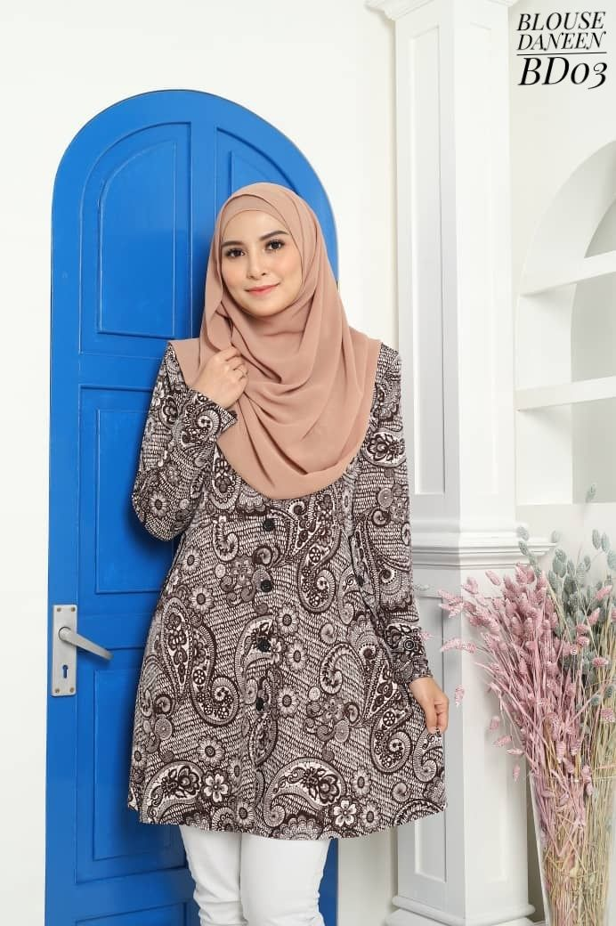 BLOUSE MUSLIMAH TERKINI LYCRA IRONLESS TRAVEL FRIENDLY DANEEN BD03