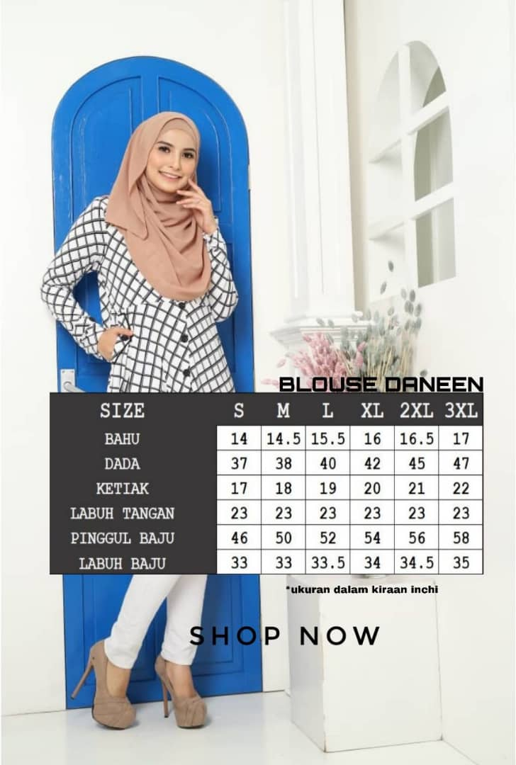 BLOUSE MUSLIMAH TERKINI LYCRA IRONLESS TRAVEL FRIENDLY DANEEN UKURAN