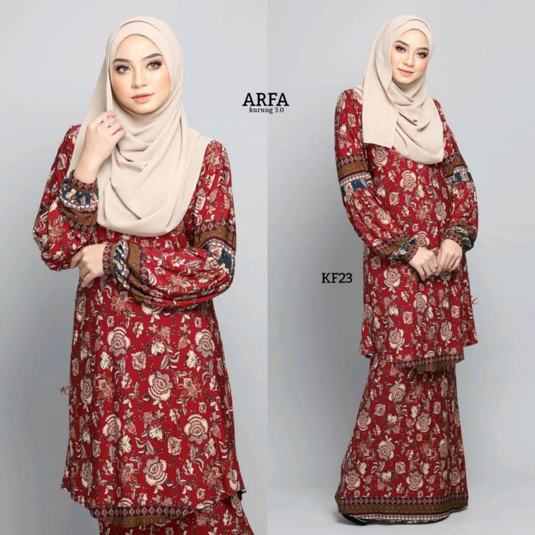 KURUNG MODEN LYCRA IRONLESS TRAVEL FRIENDLY ARFA KF23 1