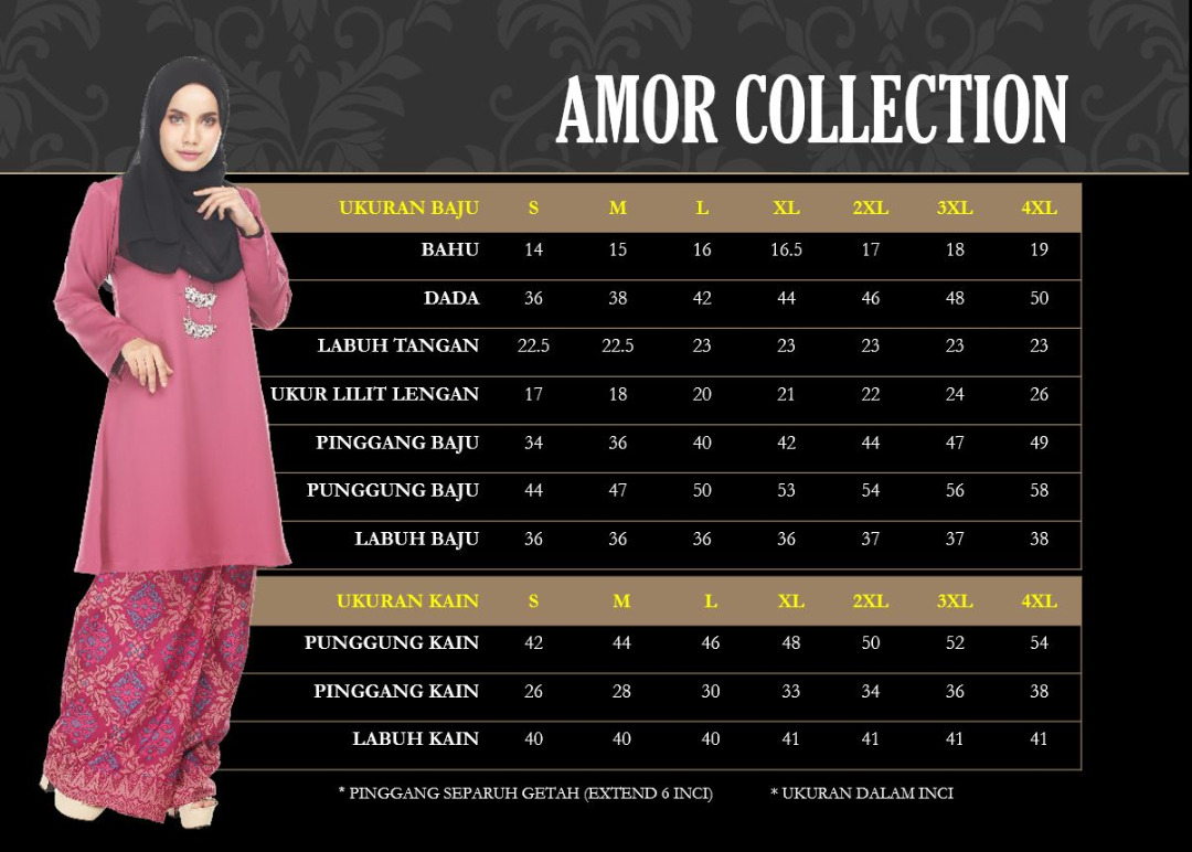 KURUNG MODEN MOTIF SONGKET AMOR COLLECTION UKURAN