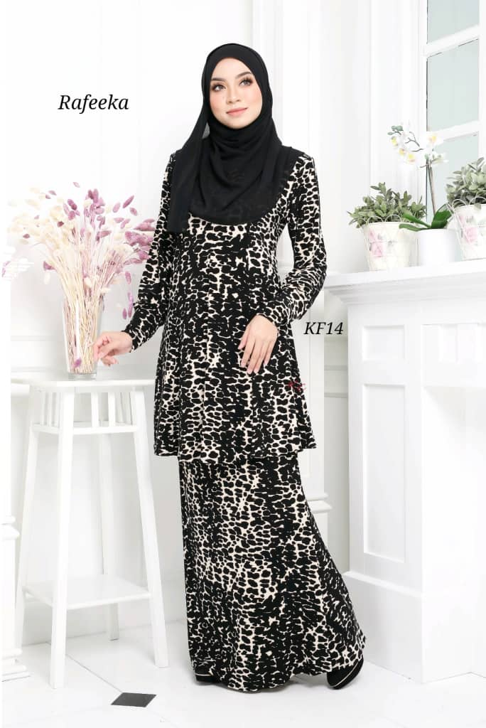 BAJU KURUNG MODEN LYCRA IRONLESS TRAVEL FRIENDLY RAFEEKA KF14 1