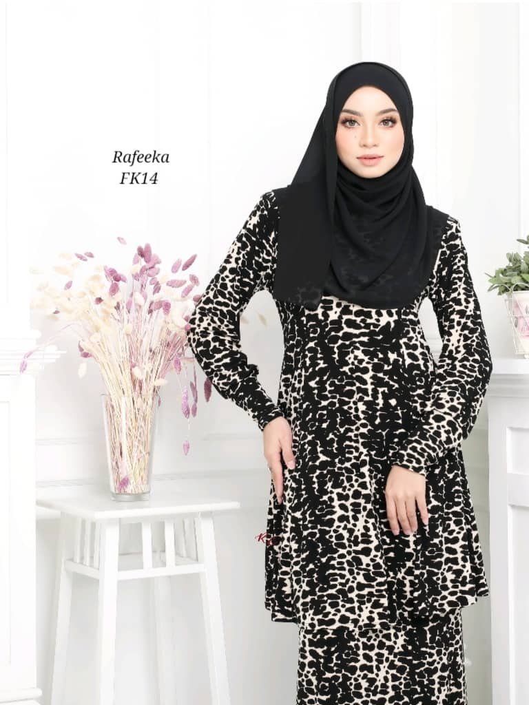 BAJU KURUNG MODEN LYCRA IRONLESS TRAVEL FRIENDLY RAFEEKA KF14 2