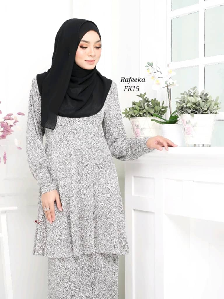 BAJU KURUNG MODEN LYCRA IRONLESS TRAVEL FRIENDLY RAFEEKA KF15 2