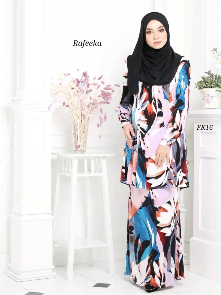 BAJU KURUNG MODEN LYCRA IRONLESS TRAVEL FRIENDLY RAFEEKA KF16 1