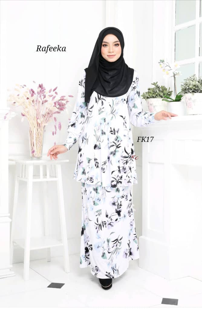 BAJU KURUNG MODEN LYCRA IRONLESS TRAVEL FRIENDLY RAFEEKA KF17 1