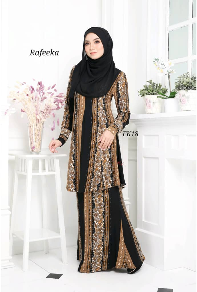 BAJU KURUNG MODEN LYCRA IRONLESS TRAVEL FRIENDLY RAFEEKA KF18 1