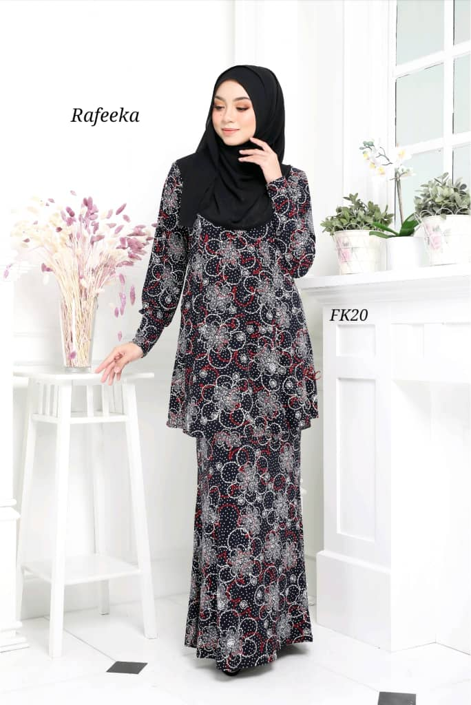 BAJU KURUNG MODEN LYCRA IRONLESS TRAVEL FRIENDLY RAFEEKA KF20 1
