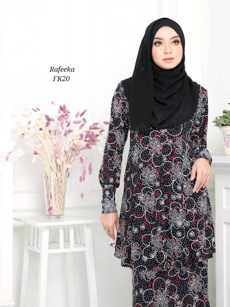 BAJU KURUNG MODEN LYCRA IRONLESS TRAVEL FRIENDLY RAFEEKA KF20 2