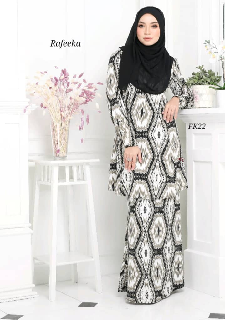 BAJU KURUNG MODEN LYCRA IRONLESS TRAVEL FRIENDLY RAFEEKA KF22 1
