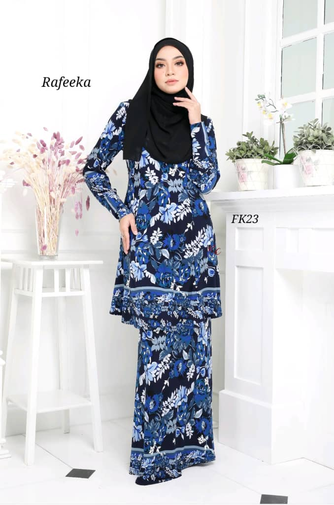 BAJU KURUNG MODEN LYCRA IRONLESS TRAVEL FRIENDLY RAFEEKA KF23 1