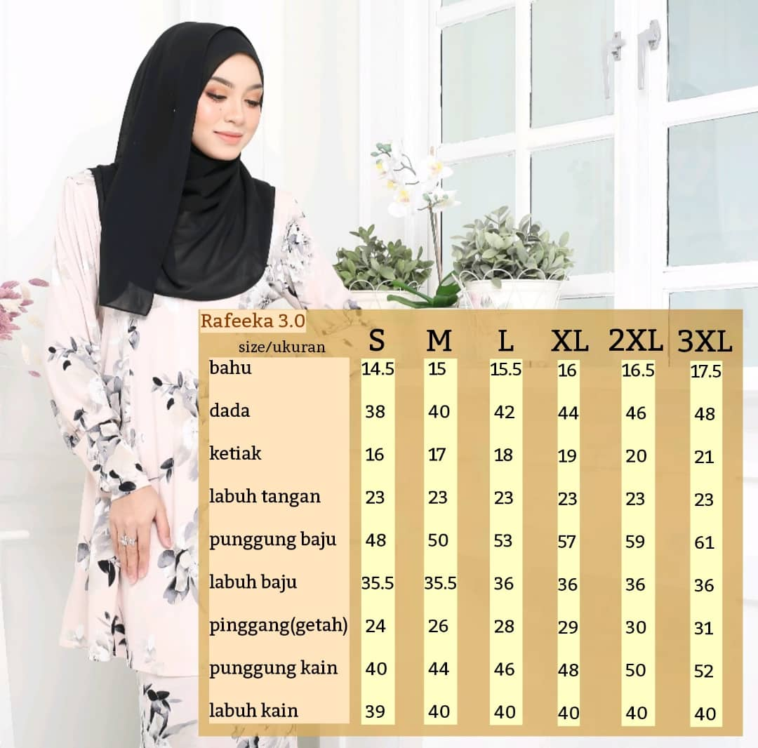 BAJU KURUNG MODEN LYCRA IRONLESS TRAVEL FRIENDLY RAFEEKA UKURAN