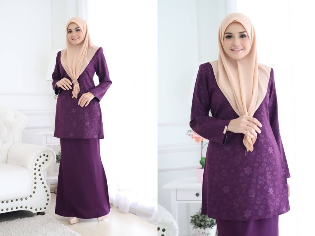BAJU KURUNG MODEN RAYA 2019 AQEELA EMBOSSED GRAPE 1