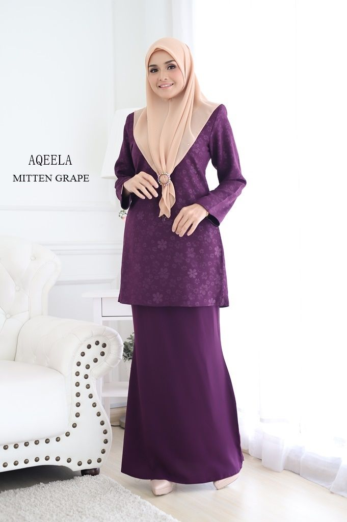 BAJU KURUNG MODEN RAYA 2019 AQEELA EMBOSSED GRAPE 24