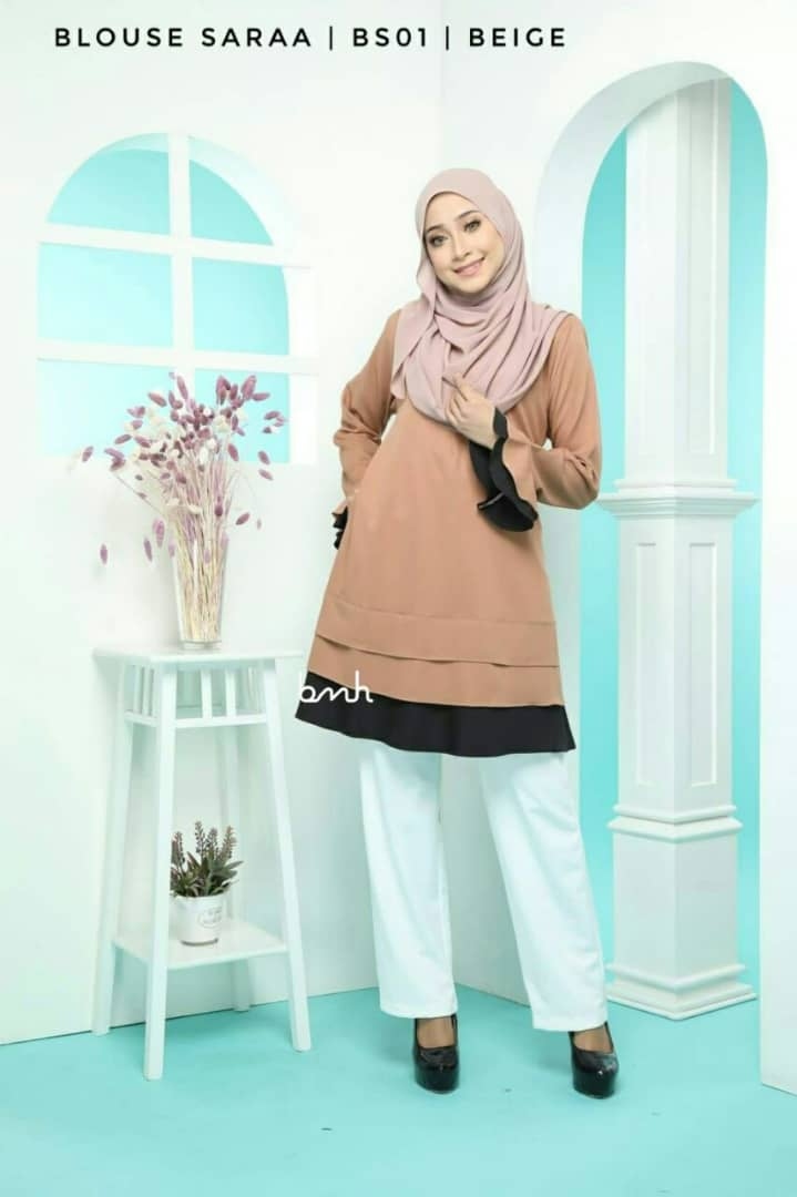 BLOUSE MUSLIMAH SARAA POLY CREPE BS01 1