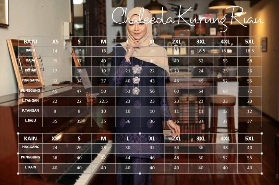 KURUNG CHALEEDA SONGKET RIAU RAYA 2019 UKURAN