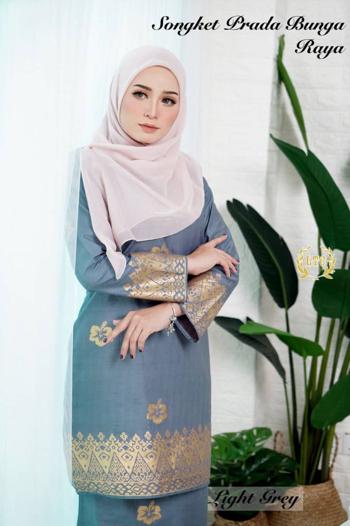 KURUNG MODEN SONGKET PRADA RAYA 2019 LIGHT GREY