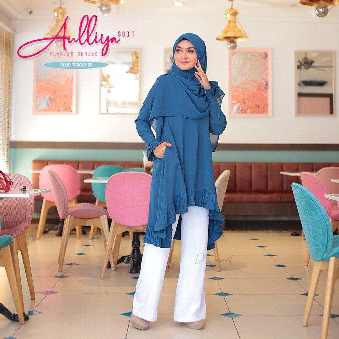 MUSLIMAH SUIT RAYA 2019 JUBAG SELUAR AULIYYA BLUE TURQOISE 1