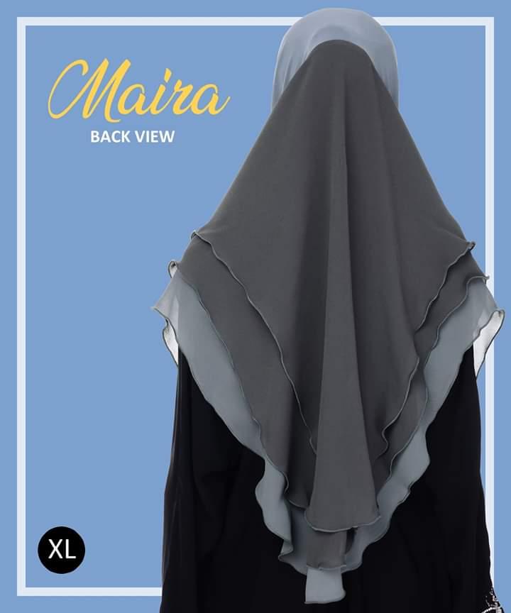 TUDUNG LYCRA CHIFFON LABUH SAIZ XL RAYA 2019 MAIRA VEX BACK