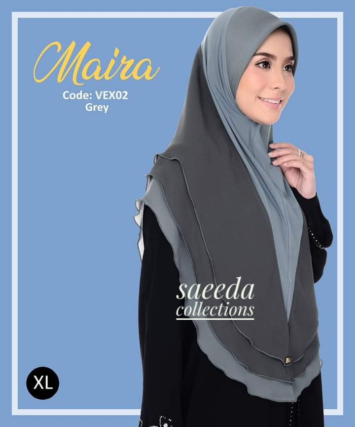 TUDUNG LYCRA CHIFFON LABUH SAIZ XL RAYA 2019 MAIRA VEX02
