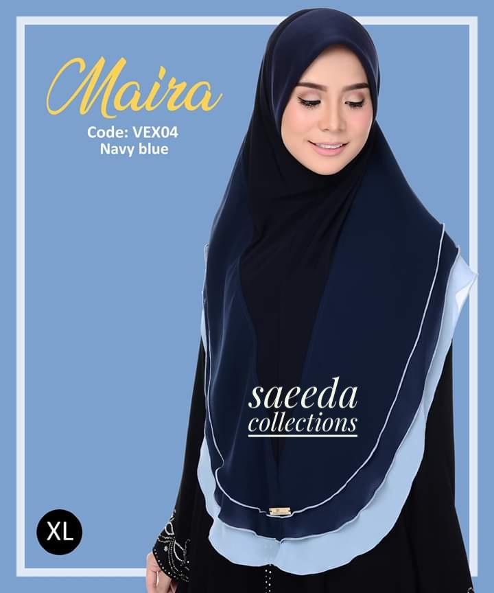 TUDUNG LYCRA CHIFFON LABUH SAIZ XL RAYA 2019 MAIRA VEX04