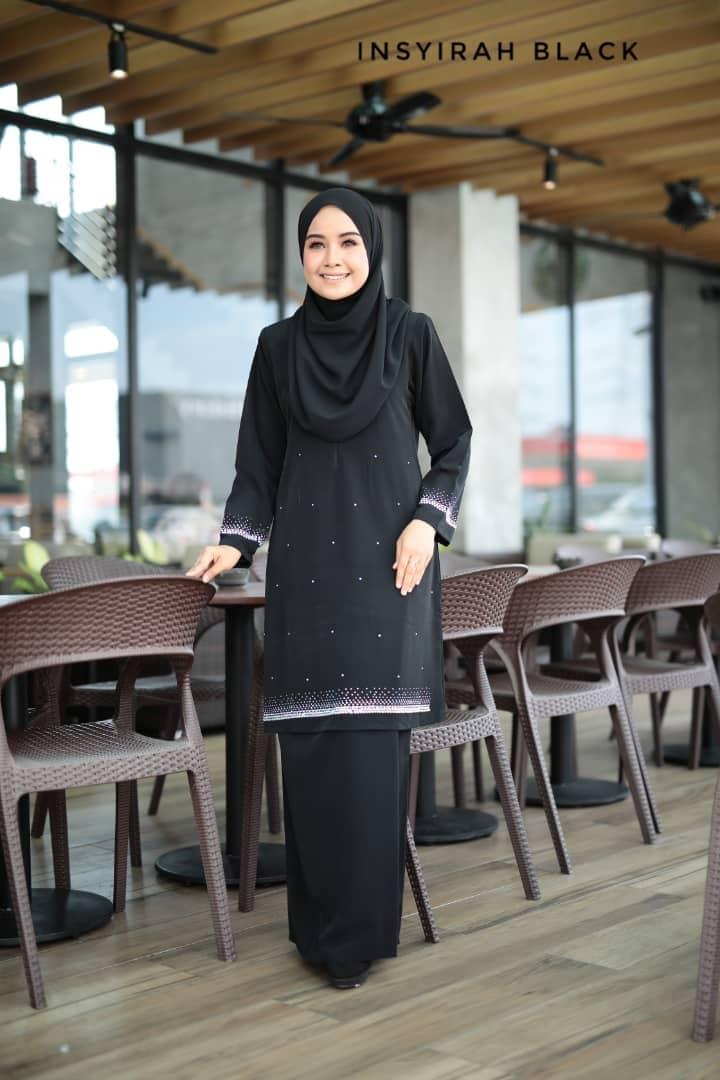 BAJU KURUNG MODEN RAYA TERKINI 2019 INSYIRAH BEADS BLACK