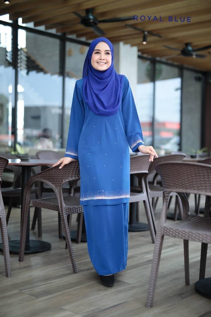 BAJU KURUNG MODEN RAYA TERKINI 2019 INSYIRAH BEADS ROYAL BLUE