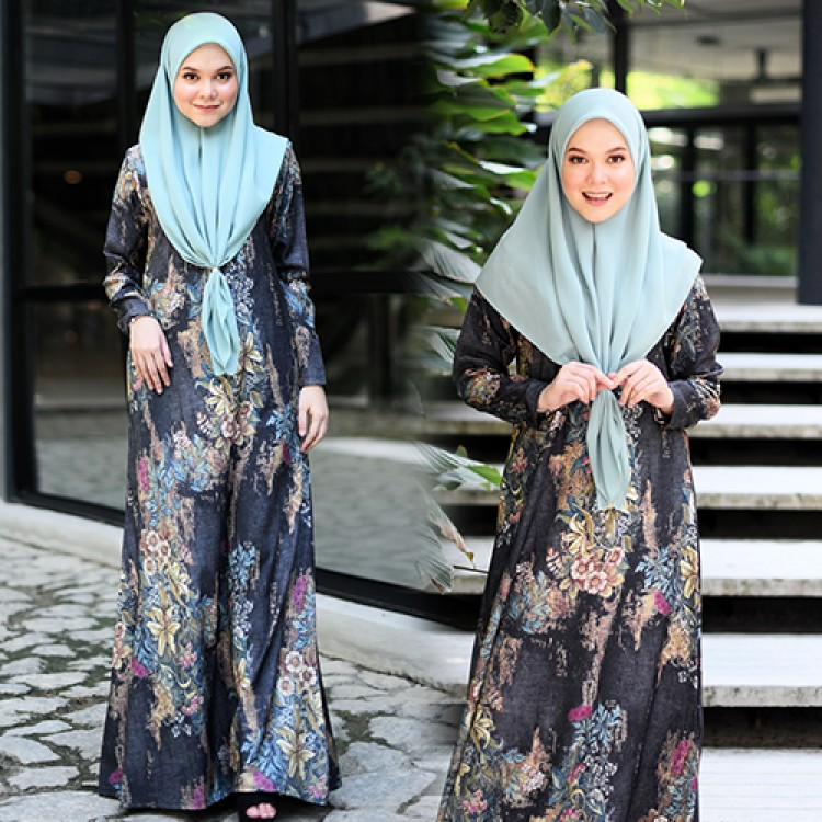 JUBAH RAYA TERKINI 2019 FLOARE CHARCOAL TOFFEE 1
