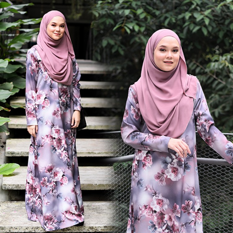 JUBAH RAYA TERKINI 2019 FLOARE LILAC PURPLE 1
