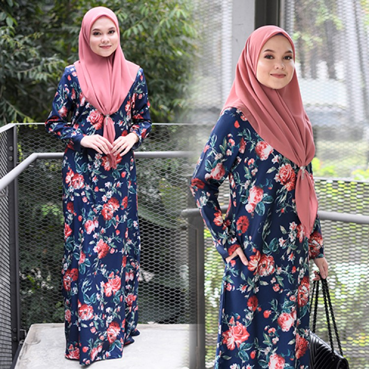 JUBAH RAYA TERKINI 2019 FLOARE MEDIUM BLUE 1