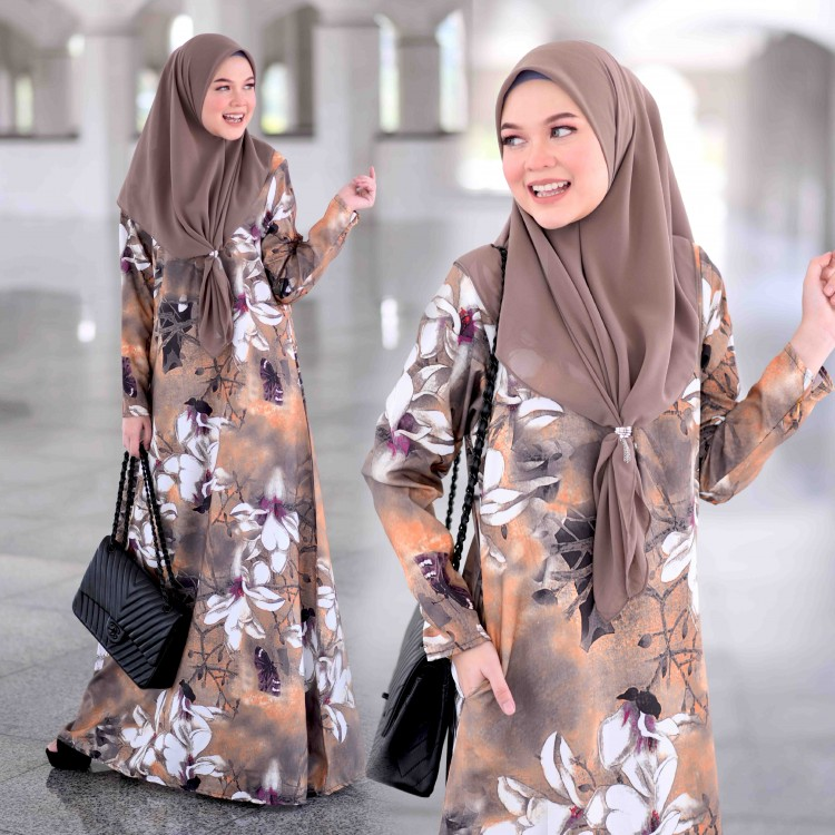 JUBAH RAYA TERKINI 2019 FLOARE RAYA BROWN 1