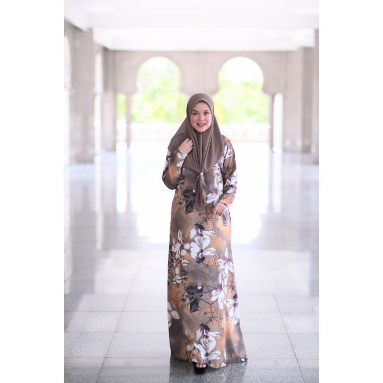 JUBAH RAYA TERKINI 2019 FLOARE RAYA BROWN 2
