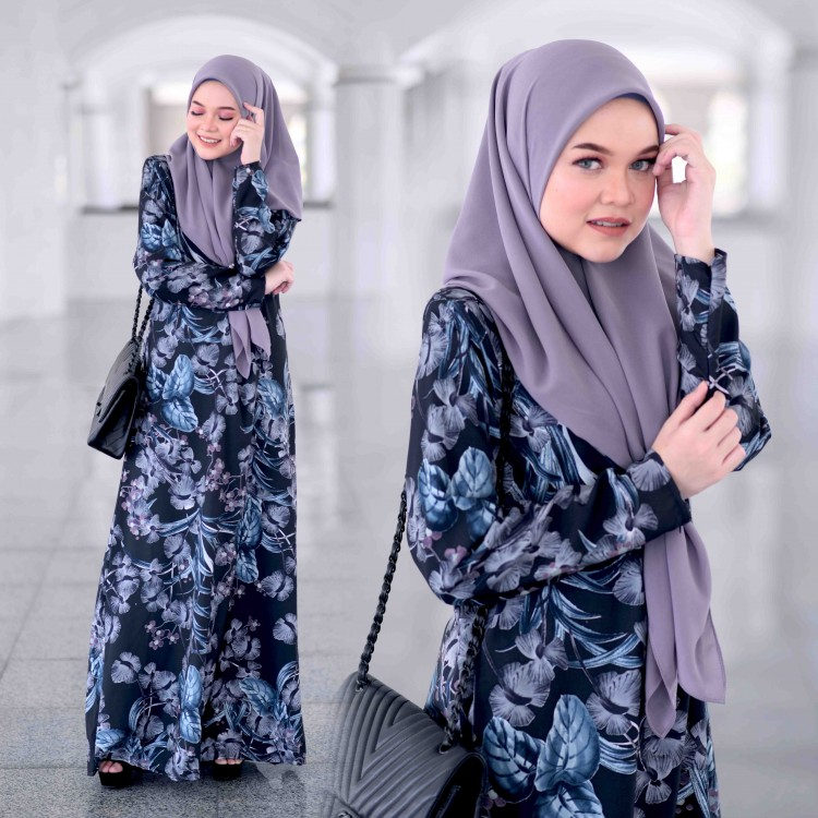 JUBAH RAYA TERKINI 2019 FLOARE RAYA DARK BLUE PETUNA 1