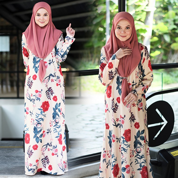 JUBAH RAYA TERKINI 2019 FLOARE SWEET ORANGE 1