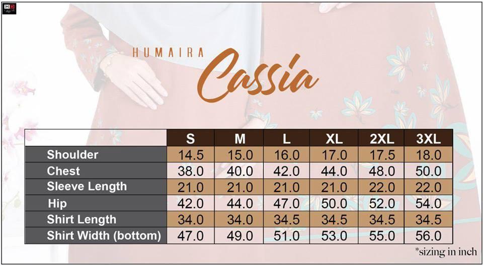 TSHIRT COTTON MUSLIMAH CASSIA TERKINI 2019 HB121 UKURAN
