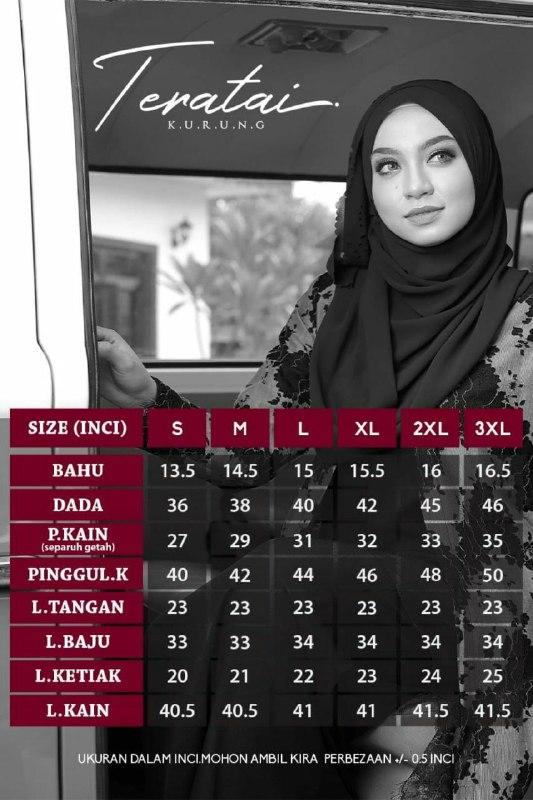 BAJU KURUNG MODEN LACE TERATAI RAYA 2019 UKURAN