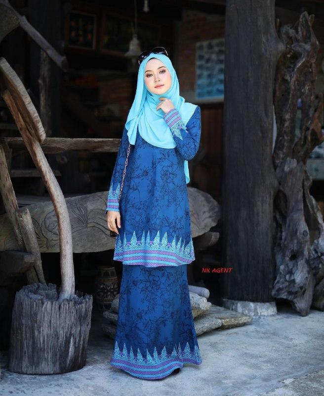 BAJU KURUNG MODEN MAHSURI BATIK PRINTED RAYA 2019 BLUE TURQUOISE 2