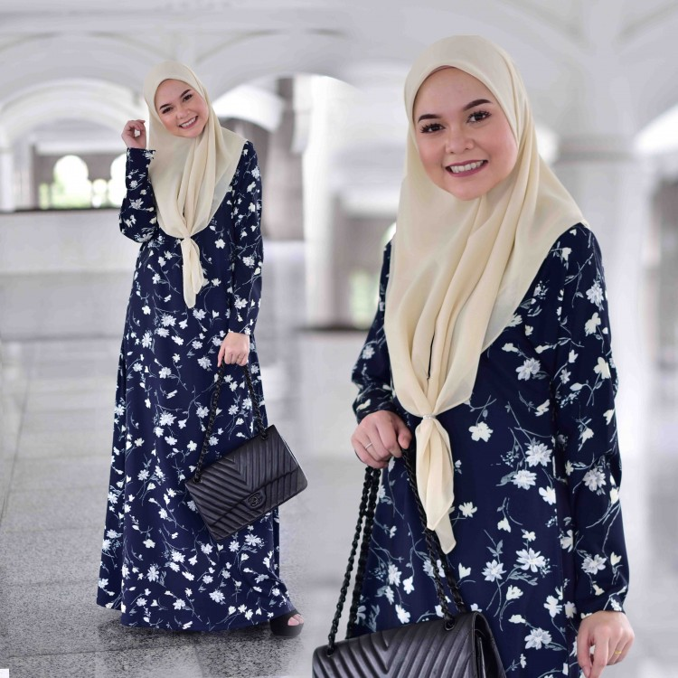 JUBAH AIRIS PRINTED RAYA 2019 MIDNIGHT BLUE 1