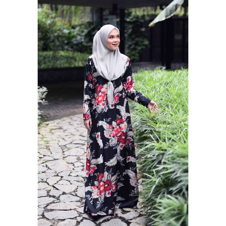 JUBAH PRINTED AIRIS RAYA 2019 MIDNIGHT BLACK 2