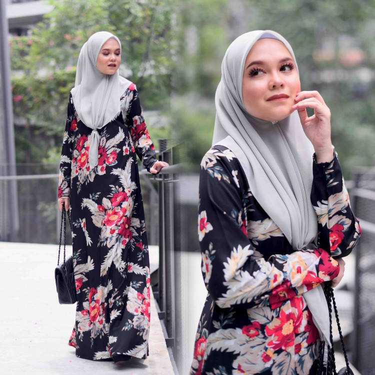 JUBAH PRINTED AIRIS RAYA 2019 MIDNIGHT BLACK