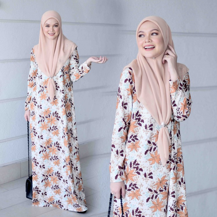 JUBAH PRINTED AIRIS RAYA 2019 NATURAL BROWN 1