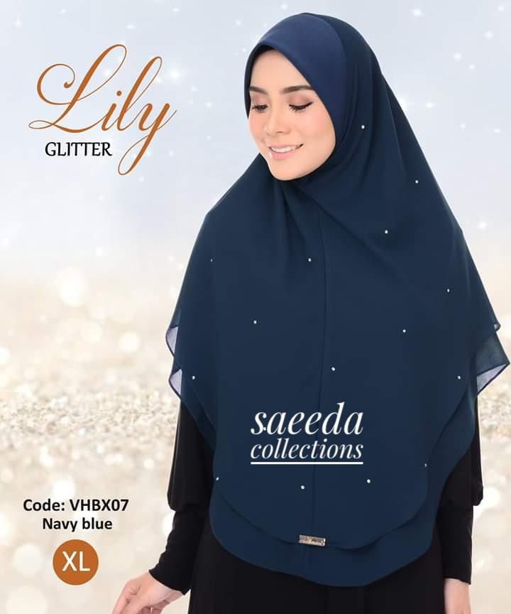 TUDUNG SARUNG INSTANT AWNING LILY GLITTER RAYA 2019 LABUH SAIZ XL VHBX07