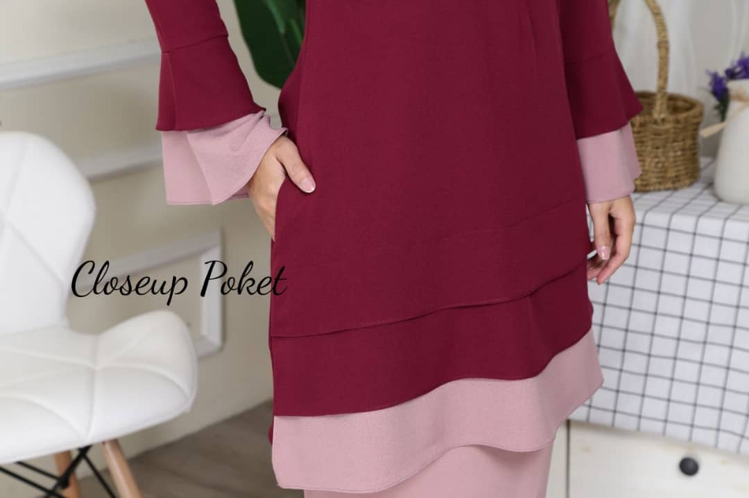 BAJU KURUNG MODEN CREPE LAYER ALIA AL CLOSE