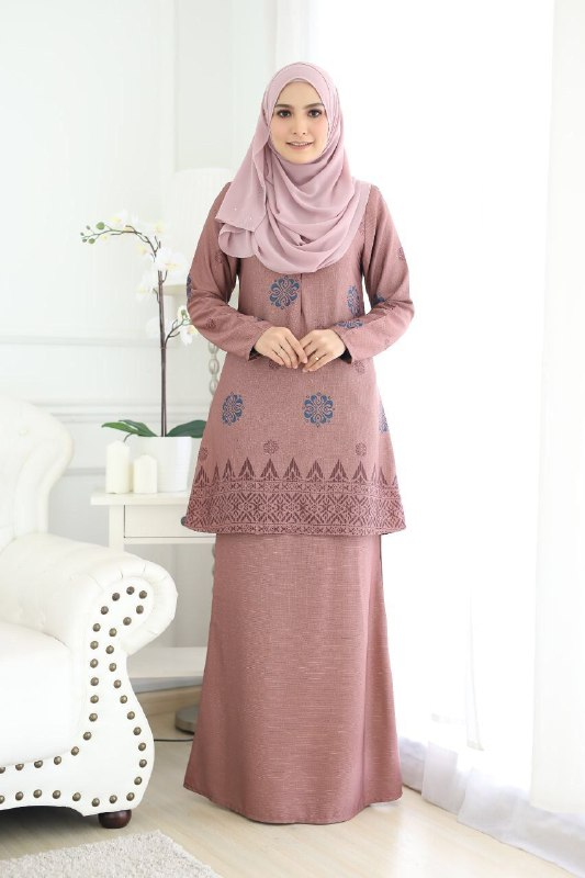 BAJU KURUNG MODEN SONGKET SARAH SADDLE BROWN 1
