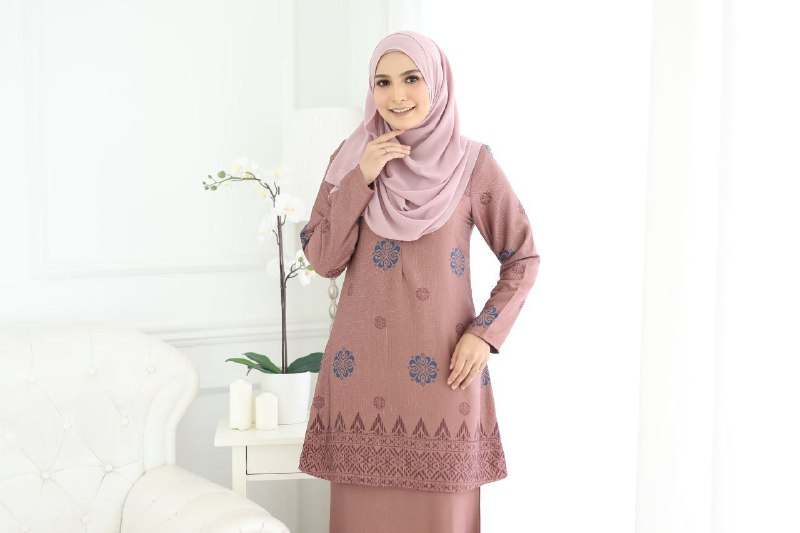 BAJU KURUNG MODEN SONGKET SARAH SADDLE BROWN 2