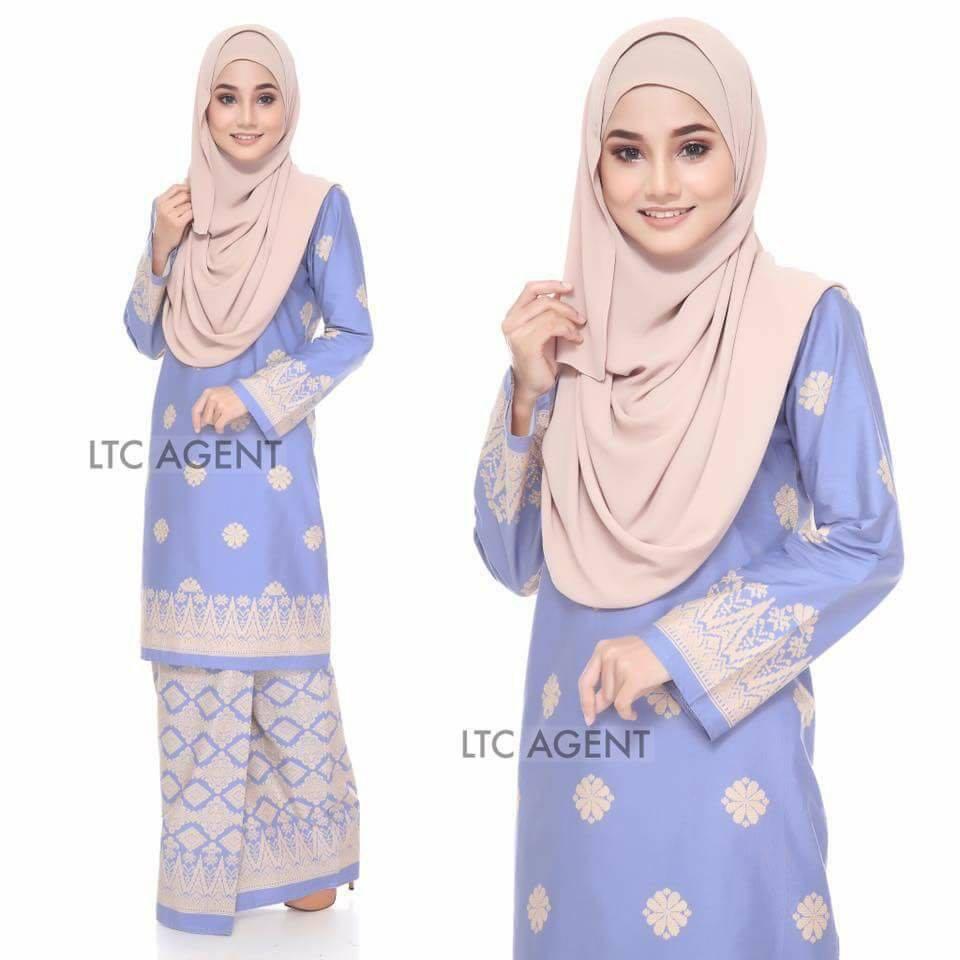 Baju Kurung Moden Songket Bunga Tabur Light Blue Saeeda Collections