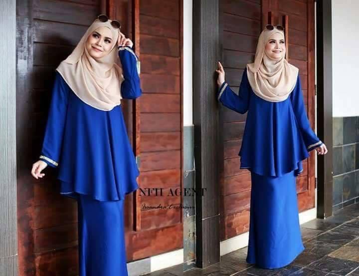 Baju Kurung Moden Issandra Royal Blue Saeeda Collections